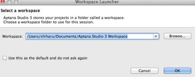 aptana-studio3ワークスペース選択