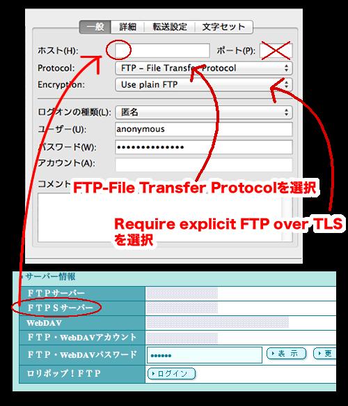 ファイルジラ接続方法