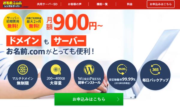 お名前.comのスクショ