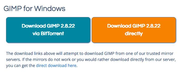 GIMPダウンロード方法の選択