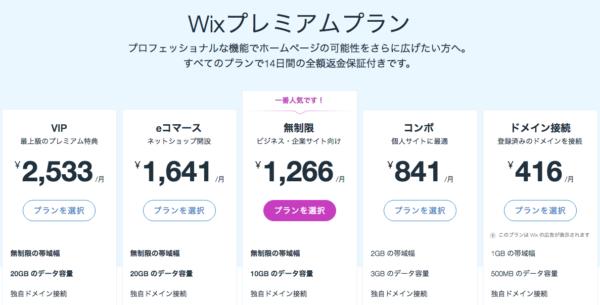 Wix.comプレミアムプラン